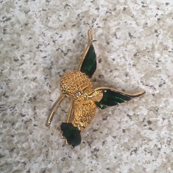 Hummingbird Brooch Gold & Green Tone Silver Eye